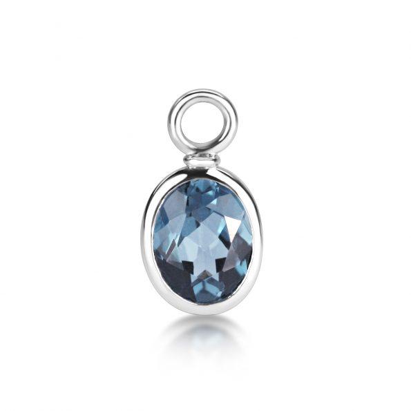 Juno Ear Pendants ~ White Gold & Dusk Blue