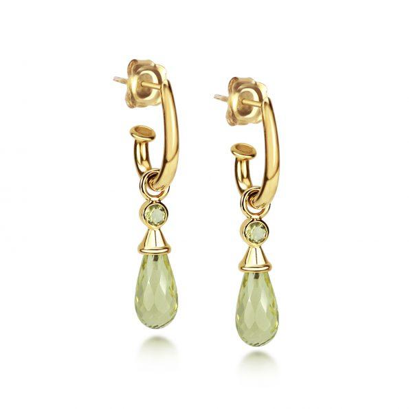 Juno Ear Pendants - Yellow Gold & Lemon Drops