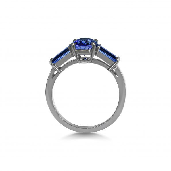 Luna - Midnight Sapphire and Shadow Gold Ring