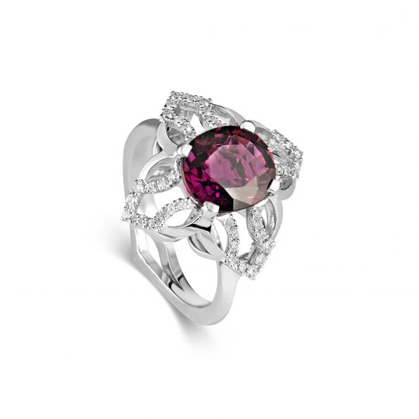 Freya Ring ~ Dusk Rose & Diamonds