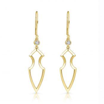 Kali Earrings ~ Solo Diamond Gold Spear