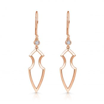 Kali Earrings ~ Solo Diamond Rose Spear