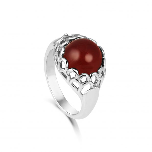 Protea Ring ~ White Gold & Carnelian