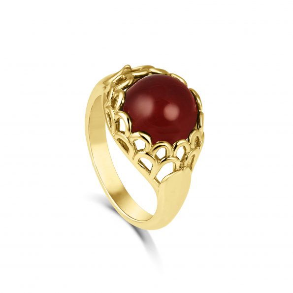 Protea Ring ~ Yellow Gold & Carnelian