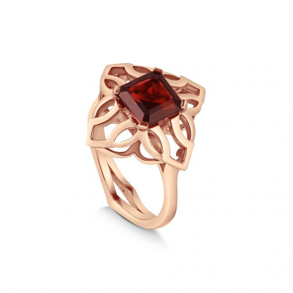 Freya Ring ~ Rose Vermeil & Garnet