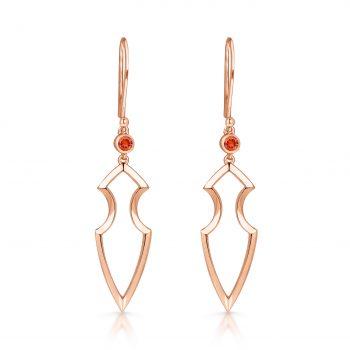 Kali Earrings ~ Solo Orange Sapphire Rose Spear