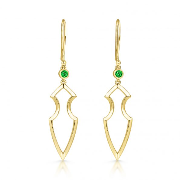 Kali Earrings ~ Solo Tsavorite Spear (yellow)