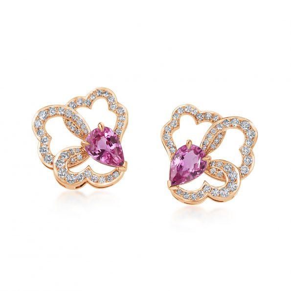 Ostara Earrings ~ Pink Sapphire & Diamonds Rose Gold