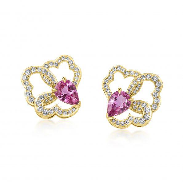 Ostara Earrings ~ Pink Sapphire & Diamonds Yellow Gold