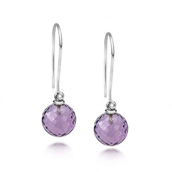 Aura Earrings ~ Amethyst Discoball