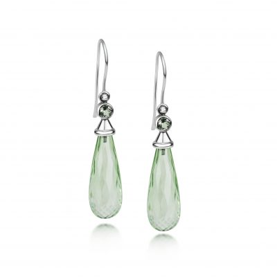 Aura Earrings ~ Green Quartz Drops with caps