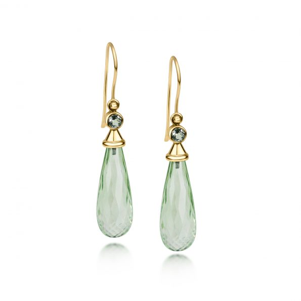 Aura Earrings ~ Green Quartz Drops
