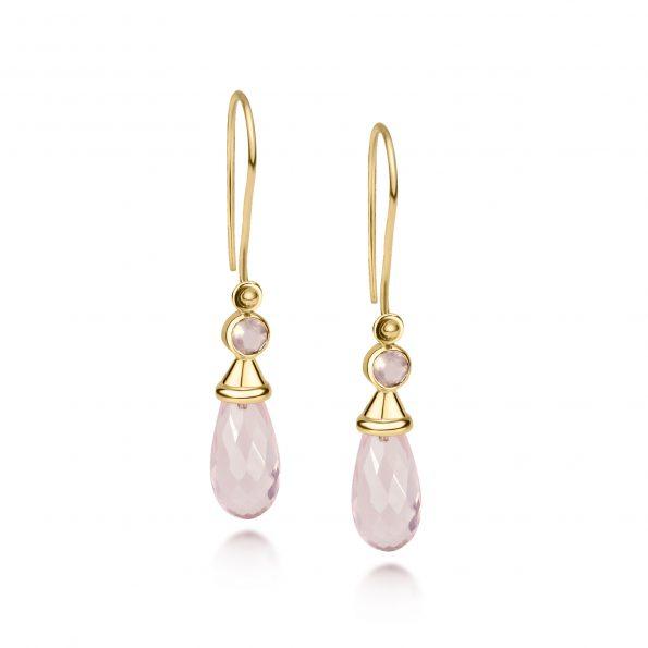 Aura Earrings~ Mini Rose Quartz with Caps