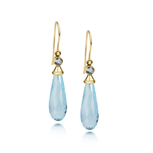 Aura Earrings ~ Sky Blue Topaz with gemstone caps