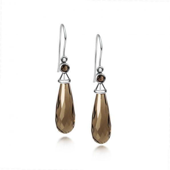 Aura Earrings ~ Smokey Quartz with Gemstone Caps
