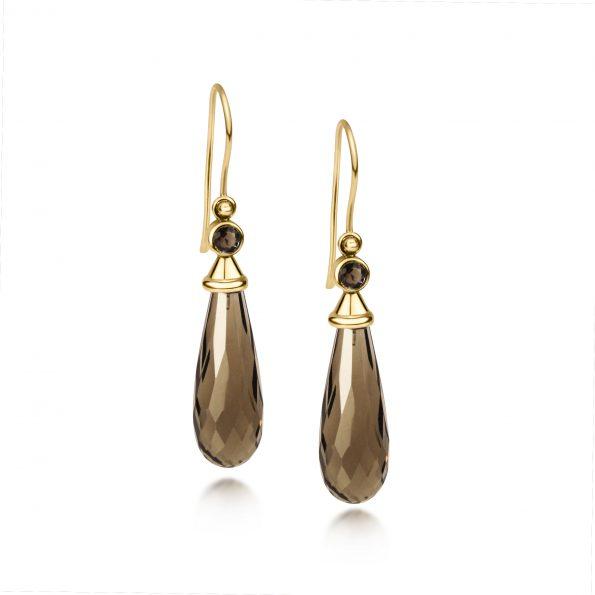 Aura Earrings ~Smokey Quartz with Gemstone Caps