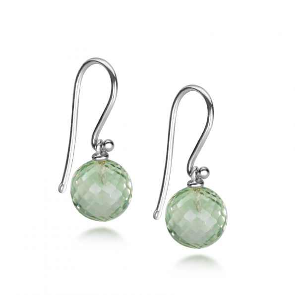 Aura Earrings ~ Green Quartz Discoball