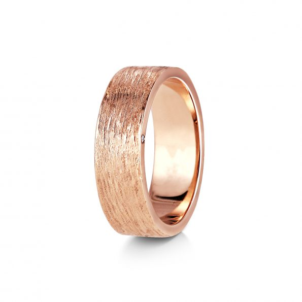 Bark Texture Wedding Band with Diamond Detail - Rose Gold