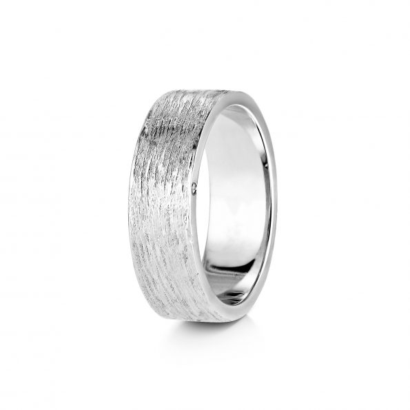 Bark Texture Band with Diamond side (1) ~ White Gold / Platinum