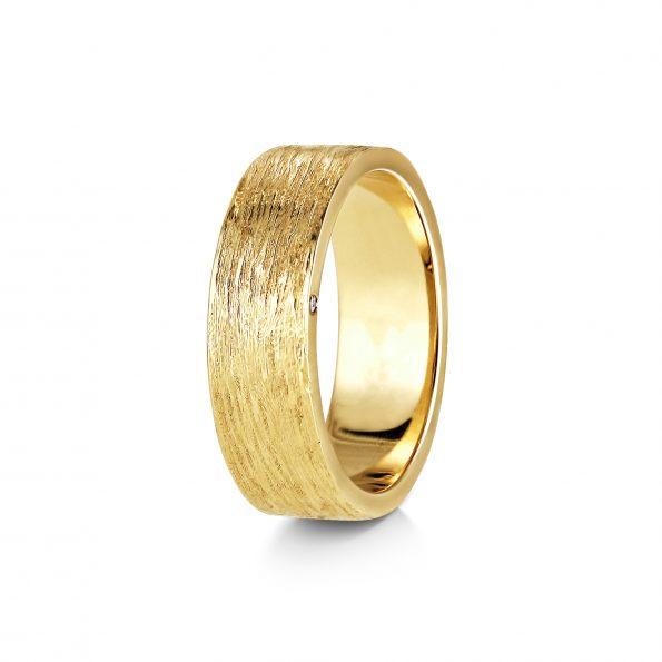 Bark Texture Band with Diamond side (1) ~ Yellow Gold