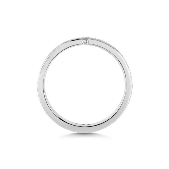 Bark Texture Band with Diamond side (2) ~ White Gold / Platinum