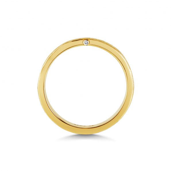 Bark Texture Band with Diamond side (2) ~ Yellow Gold