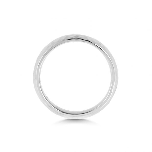 Hammered Wedding Band ~ White Gold / Platinum
