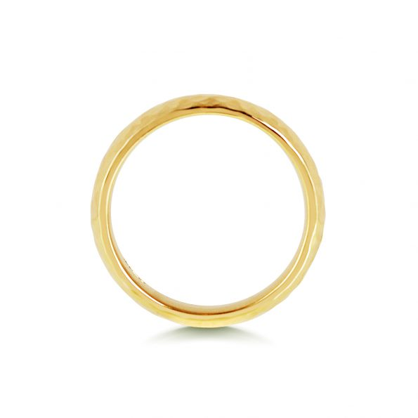Hammered Wedding Band ~ Yellow Gold