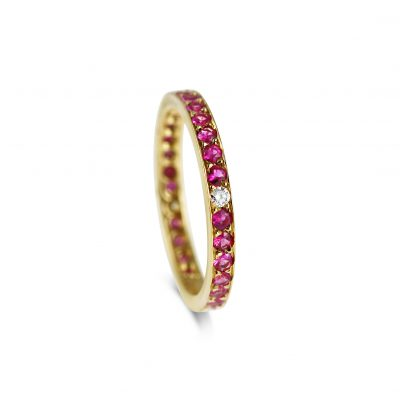Ruby & Diamond Eternity Wedding Band