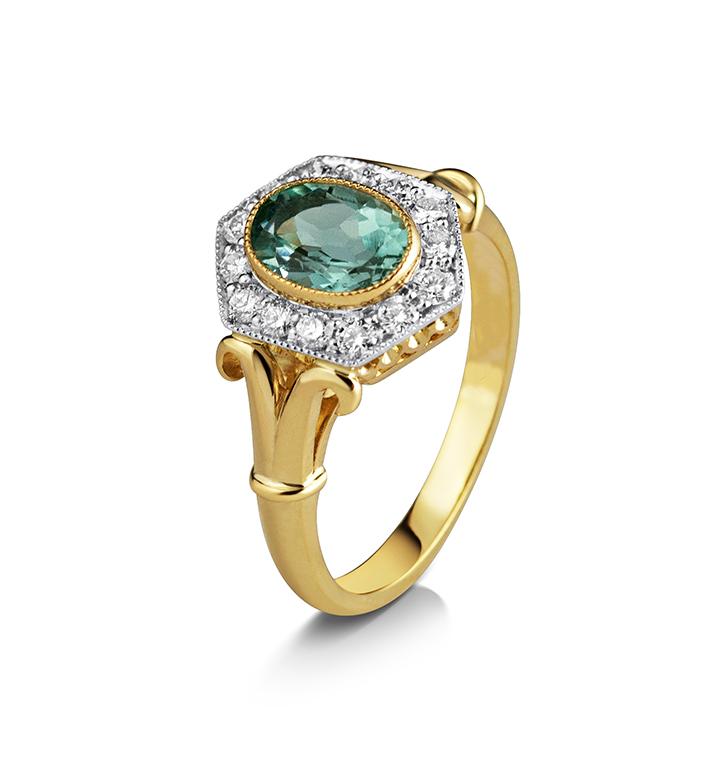 Kata Home Page - Vannina Vintage Aquamarine Diamond Cluster Ring
