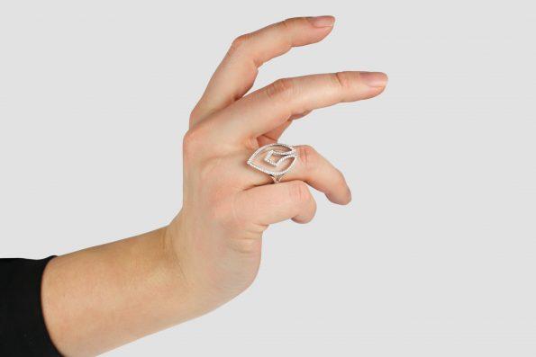 KALI Ring   White Gold Adorned Diamond Spear   KATA Jewellery